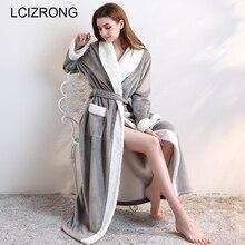 חורף חם עבה קרסול אורך גלימות נשים ארוך במיוחד סקסי פלנל סתיו רך ארוך שרוול חלוקי רחצה נשי
