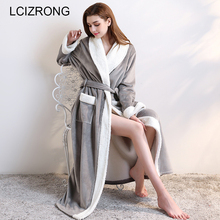 Winter Warm Thick Ankle Length Robes Women Extra Long Sexy Flannel Dressing Gown Autumn Soft Long Sleeve Bathrobes Female