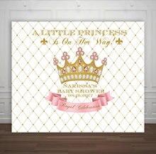 Personalizado rosa e ouro da coroa da princesa chá de bebê primeiro aniversário fundo Alta qualidade de impressão Computador backdrops partido