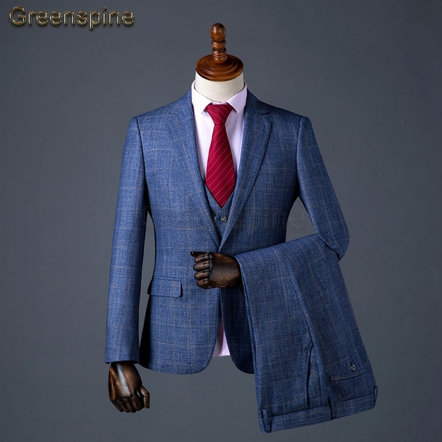 Men's Suit 3Pc Suit Jacket, Men Vest Suit Pants Blue Blazer For Wedding Business Formal Clothes tailor Made 2018 New HJ049
