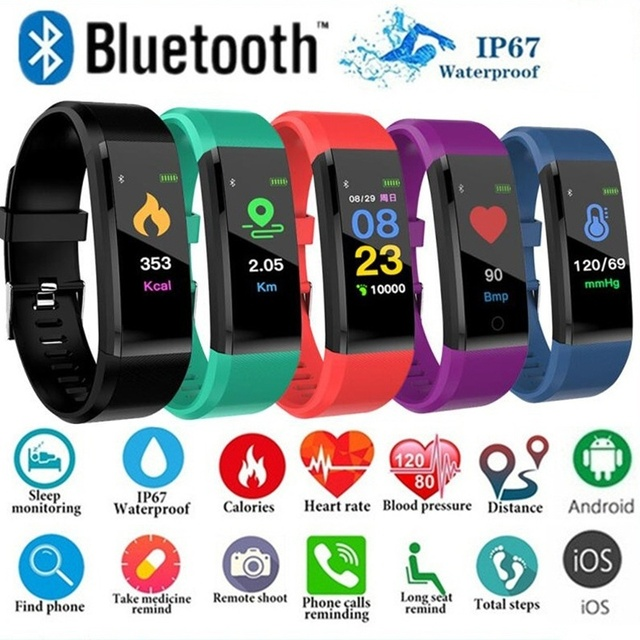 Waterproof Smart Watch Bluetooth Heart Rate Blood Pressure Fitness Tracker for A