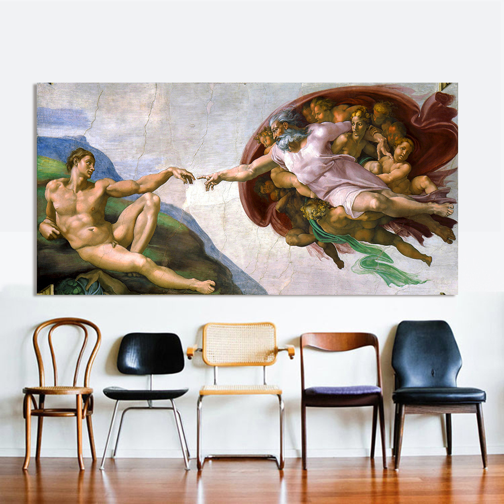 HDARTISAN Canvas Art Classical Oil Painting Michelangelo Creation Of Adam Wall Pictures For Living Room Modular Pictures