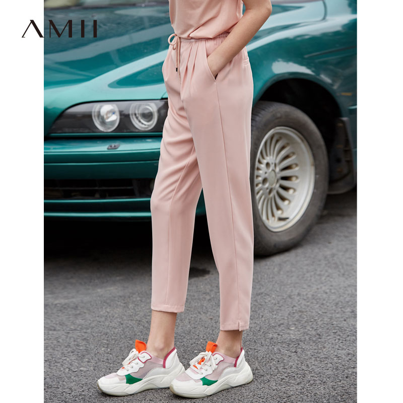 Amii Minimalist Women Pants Spring Summer 2019 Causal Sports Solid Elastic Waist Chiffon Female Pants