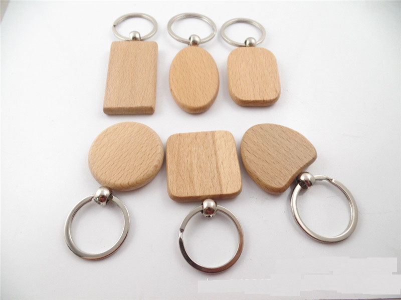6Designs Blank Round Rectangle Wooden Key Chain DIY Promotion Customized Wood Keychains Key Tags Promotional Gifts