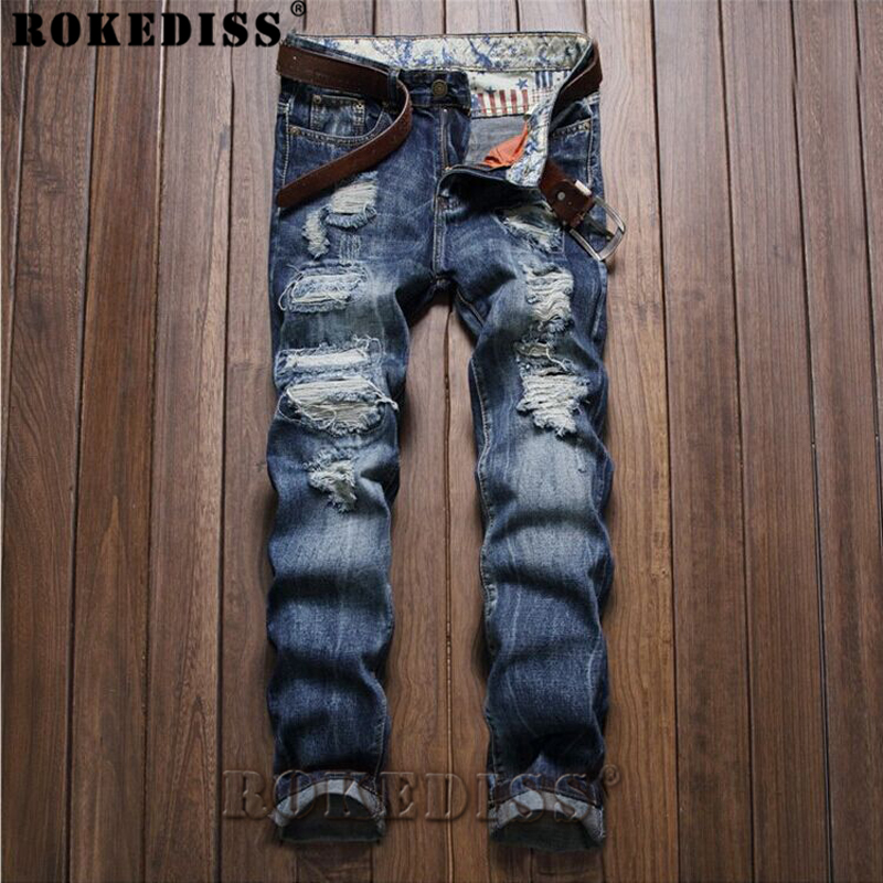 ripped jeans for men 2017 Autumn And Winter street New personality Hole In the waist Straight pants Slim Dark blue trousers C188