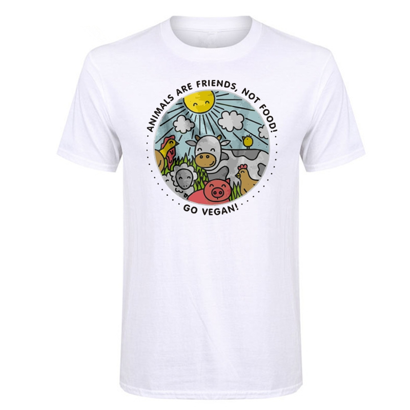 LUSLOS  ANIMALS ARE FRIENDS NOT FOOD GO VEGAN T-Shirt Tops Vegetarian Short Sleeve