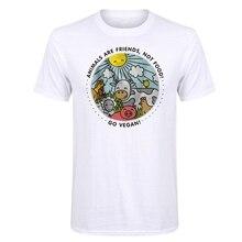 LUSLOS  ANIMALS ARE FRIENDS NOT FOOD GO VEGAN T-Shirt Tops Vegetarian Short Sleeve
