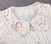 Princess Sweet Lolita Blouse Doll Led Star Embroidery Chiffon Lace Short Sleeve Shirt YWW015