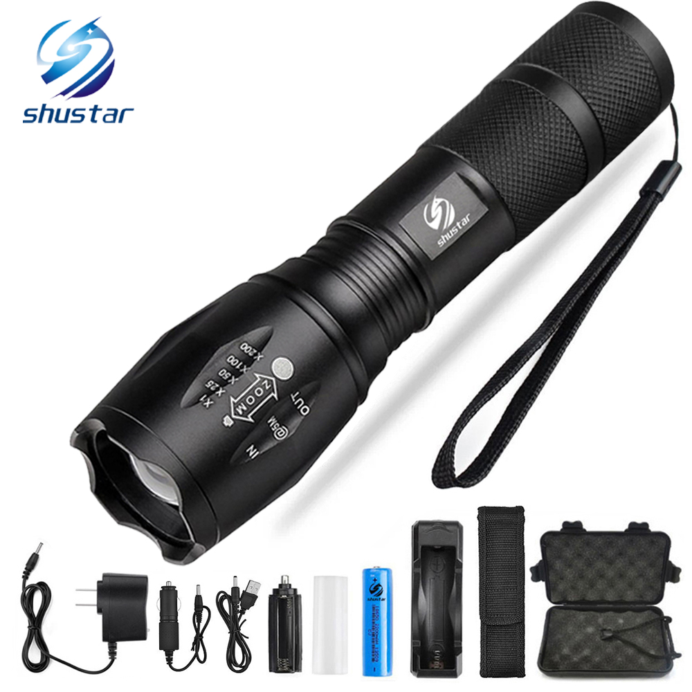 Led flashlight Ultra Bright torch CREE XML-T6 XM-L2 LED Flashlight 5 lighting Modes 8000 lumens Zoom LED torch use 18650 battery super bright 15000lm 12x xm l xml t6 led flashlight torch light for 6x 18650