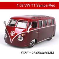1:32 Diecast Model Car VW T1 Samba Van Classic Cars Vehicle Play Collectible Models Sport Cars toys For Gift Collection