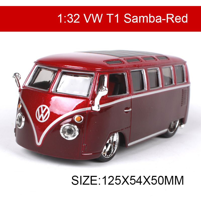 Bburago 1:32 Diecast Model Car VW T1 Samba Van Classic Cars Vehicle Play Collectible Models Sport Cars Toys For Gift Collection