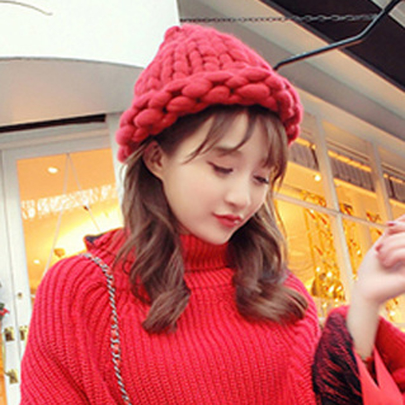 1PC Autumn Winter Hat Female Girl's Hats Thick Knitted Crochet Slouch Headgear Skullies Beanies Hats And Caps Women Knitted Hats skullies hot sale female tide leather braids knitted cap autumn and winter women s curling ear warmers headgear 1866784