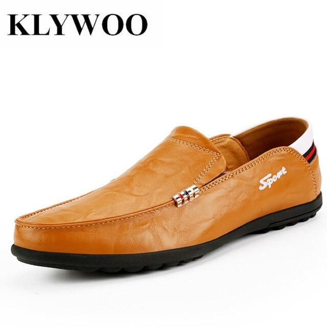 Klywoo Buatan Tangan Merek Kulit Sepatu Pria Italia Sepatu 2018 Hot Sale  Slip Pada Pantofel untuk fefdcc3c05