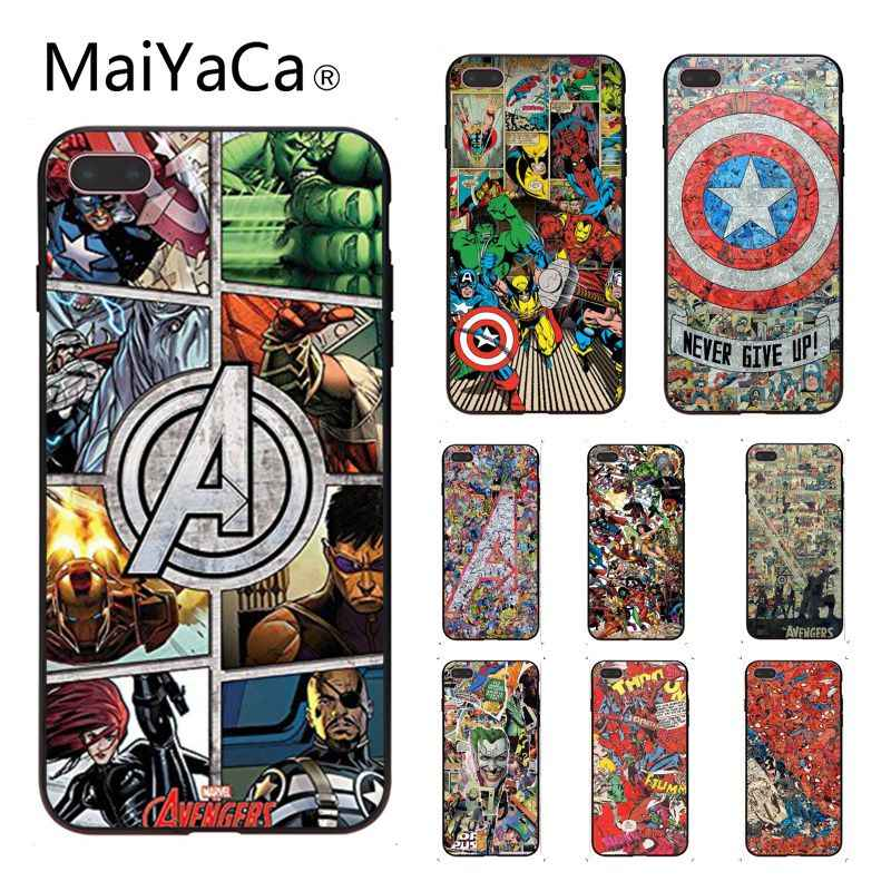 MaiYaCa Marvel Superhéroes los Vengadores Soft Top detallada Popular funda de teléfono para iphone X 8 8 plus y 5 5S 6 6 s 6 s más 7 7 Plus