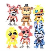 Купить с кэшбэком 6pcs/set At Freddy's Five Nights PVC Action figure 12cm Bonnie Foxy Freddy toys 5 Fazbear Bear Doll baby toys for Birthday gift