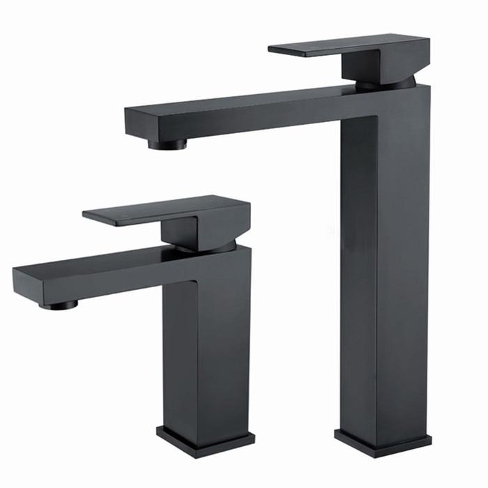 Free shipping Solid Brass Simple Deaign Deck Mount Vessel Faucet Matt Black Square Bathroom Small Basin