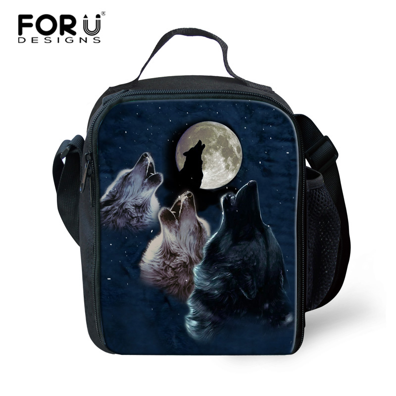 FORUDESIGNS Portable Lunch bag Wolf Pattern Picnic Box Thermos Package Worker Insulated Cool Bags Kid School Lunch Shoulder Bag
