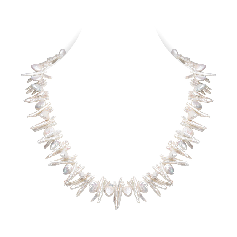 SNH new biwa & baroque pearl necklace 24 long pearl necklace jewelry with 925 silver clasp for women free shipping