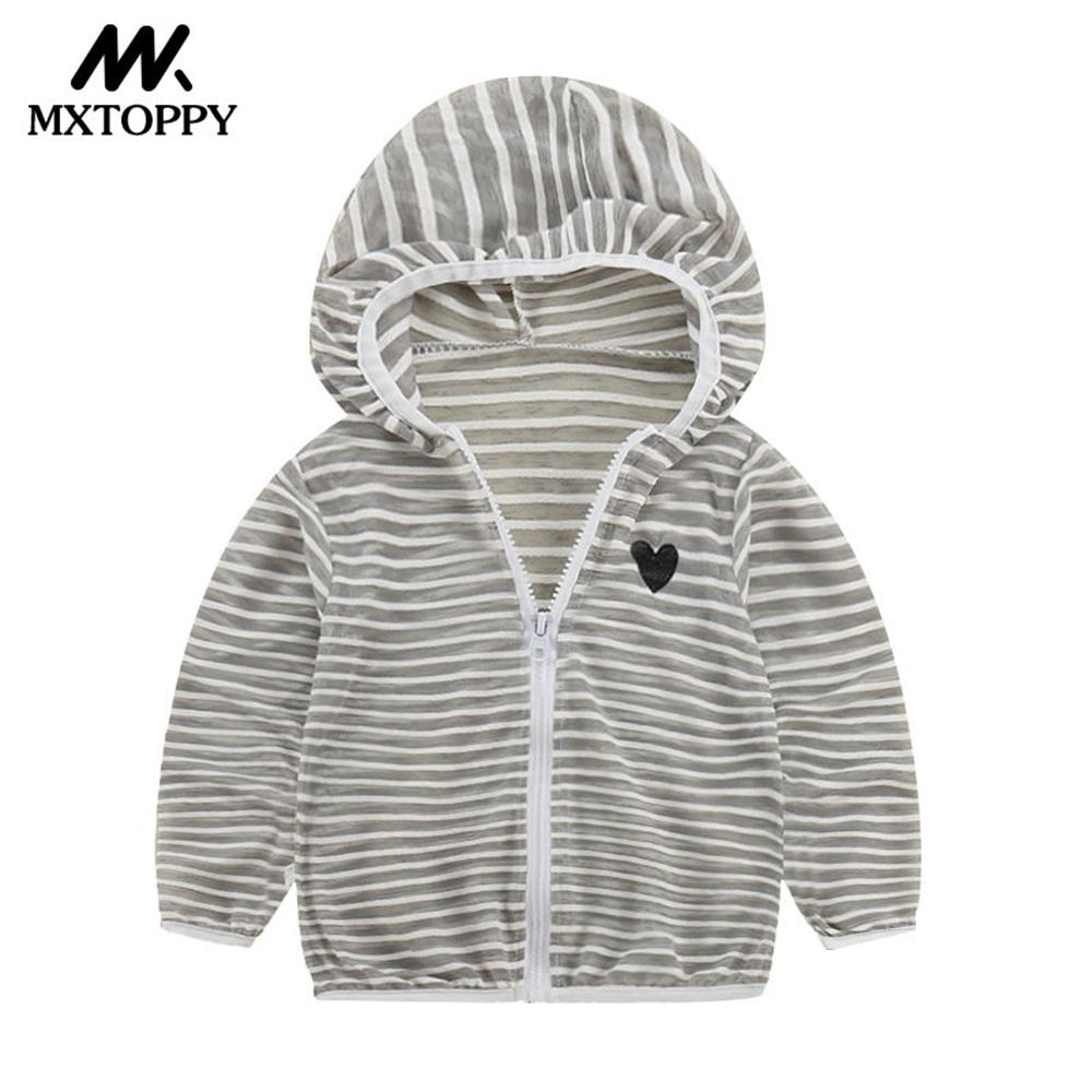MXTOPPY Kid Sun-protective Clothing Summer Kid Outdoor Long Sleeved Thin Childrens Solid Striped Kid Sweatshirt For Boys Girls