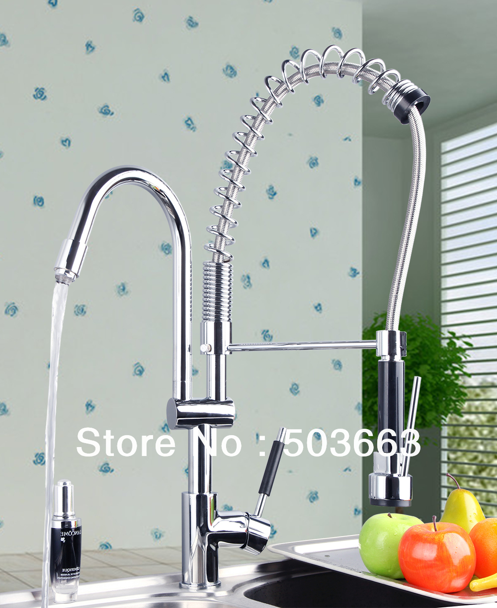 Double Handles Free Chrome Brass Water Kitchen Faucet Swivel Spout Pull Out Vessel Sink Single Handle Mixer Tap MF-268 antique brass swivel spout dual cross handles kitchen