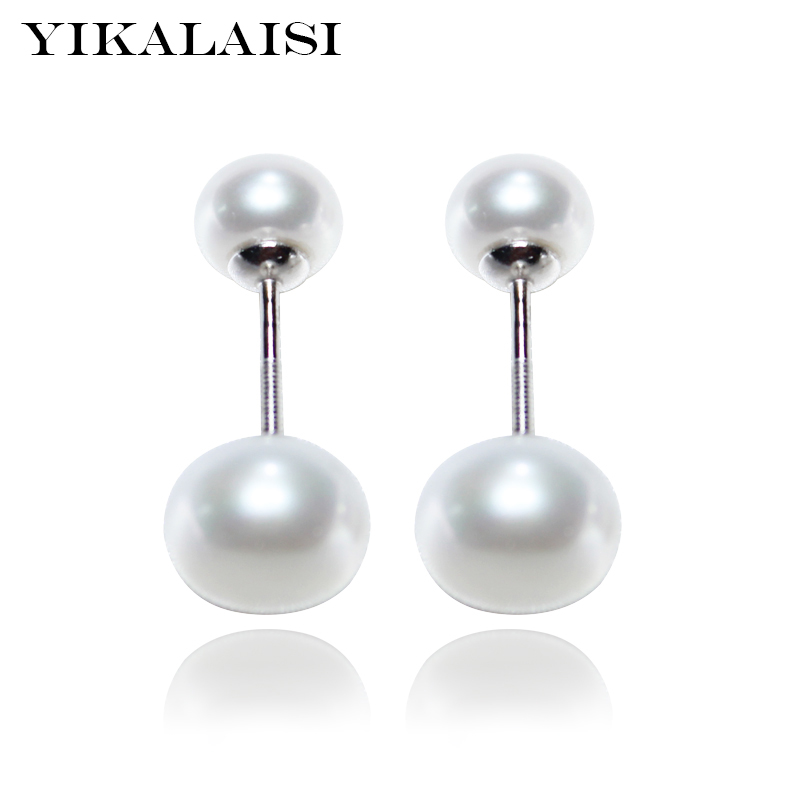 YIKALAISI 2017 100% natural freshwater pearl jewelry stud earrings double real pearl 925 sterling silver jewelry for women girls faux pearl double stud earrings