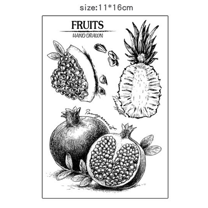 Creative Pineapple pomegranate silicone transparent Clear Stamps for scrapbook DIY Photo album Rubber