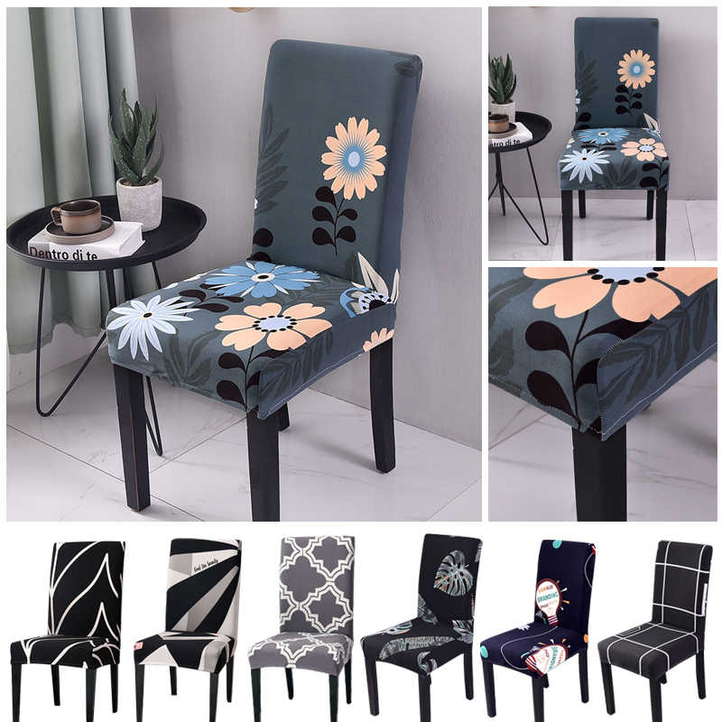 Spandex Removable Chair Cover Stretch Dining Room Chair Protector Slipcover  Anti-dirty Washable Dining Seat Cover Home Decor 1PC