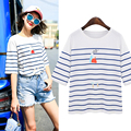 Casual Striped T shirt Women Loose Print Cute Girl's Tops Cotton Short Sleeve Casual Women Tops blusas femininas T61007