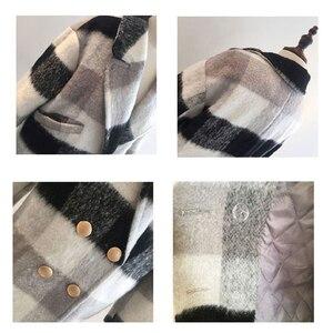 Image 5 - Ailegogo חדש סתיו חורף קשמיר תעלת מעיל נשים מקרית שחור לבן משובץ מעיל עובי חם כפתור כיס מעילים