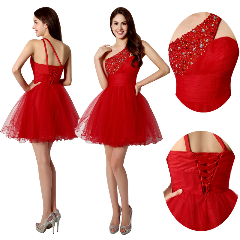 Sexy One Shoulder Short Graduation Dresses Beading 2019 Fashion Crystal Red Tulle Homecoming Gowns vestidos de