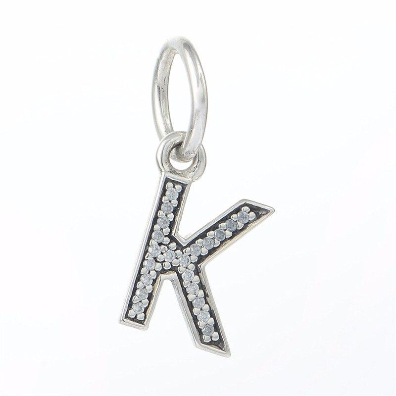 cb04ec4bdbe7 Se adapta a Pandpra pulseras del encanto del brazalete de la joyería de la  plata esterlina 925 de letra K colgante Pave CZ cuentas de piedra de  bricolaje