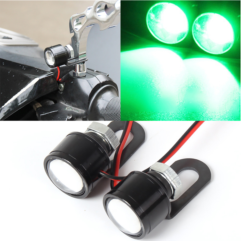 2pcs High Quality Motorcycle Led Strobe Flash Warning Light Brake Light Green LED Mirror Decor Spotlights Fish Eye Lens Lamp