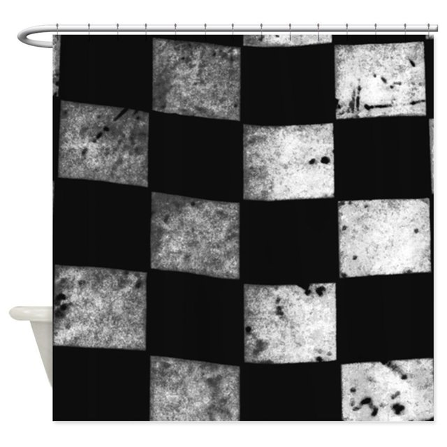 Checkered Flag Decorative Fabric Shower Curtain 8 Sizes For The Bathroom With 12 Hooks