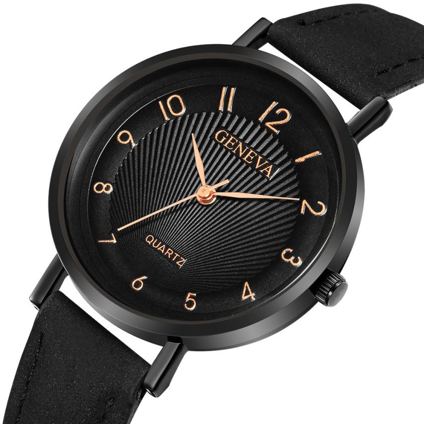 Women's Watches Fashion Black Leather Strap Military Casual Analog Quartz Wrist Watch Business Watches Female Reloj Mujer A2