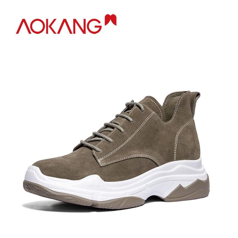 Aokang Kanglong Shoes Woman Sneakers Outdoor Climbing Women Trainers Platform Shoes Wedge Cowsuede Casual Sports Walking Shoes