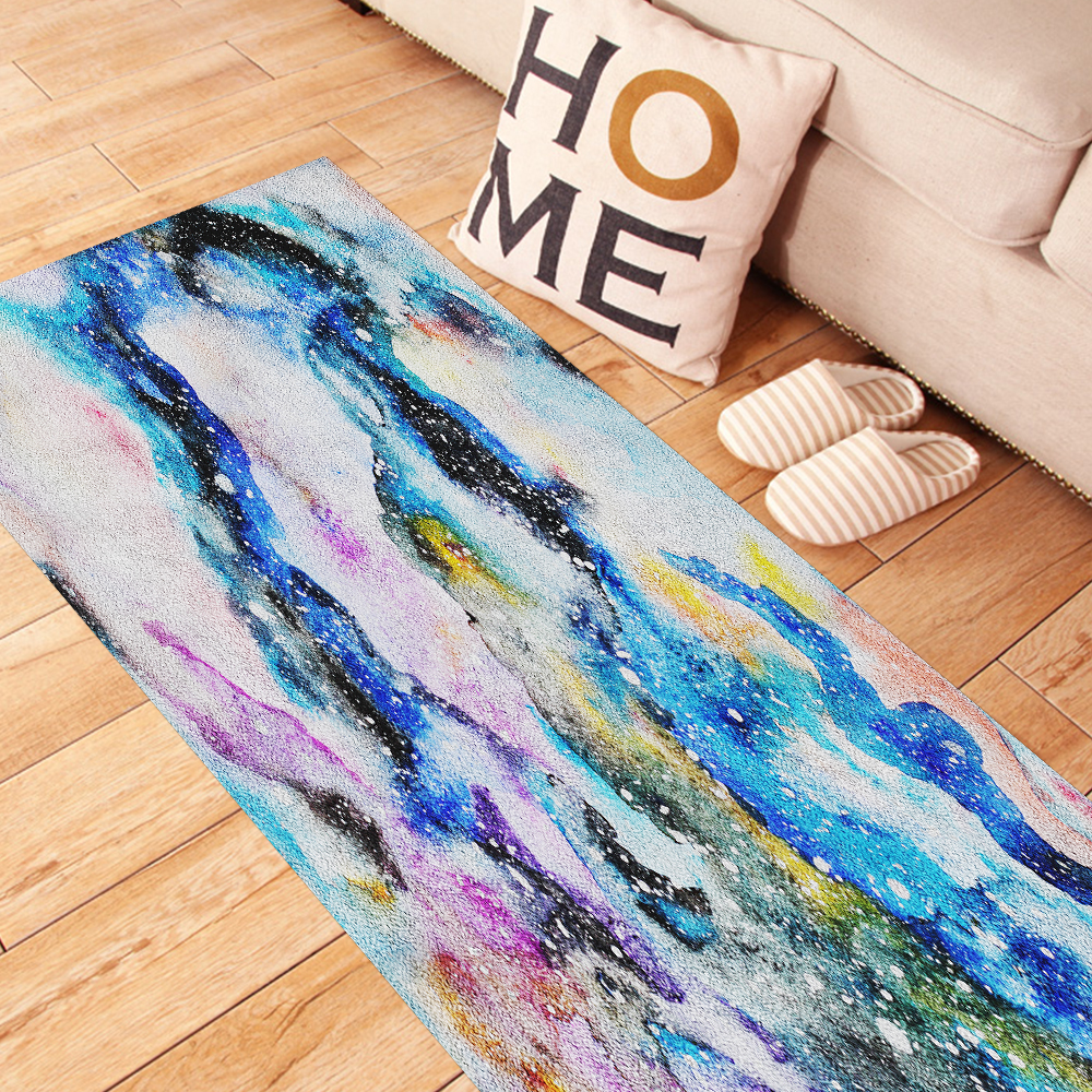 Watercolor Galaxy Carpet Sticker Waterproof Easy to Clean Self-Adhesive Anti-Slip Wall Art Kitchen Bathroom Decor CA013