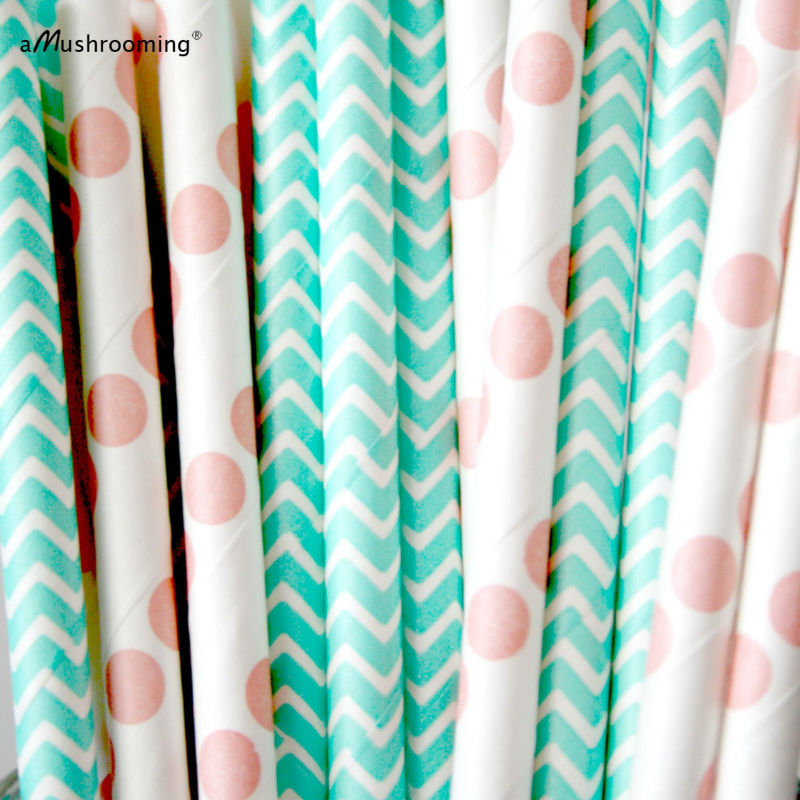 Wedding Party Decor Mint Coral Paper Straws Corals and Mints Baby Bridal Showers Mason Jar Buffet Coral Dot Mint Chevron Paper Straws