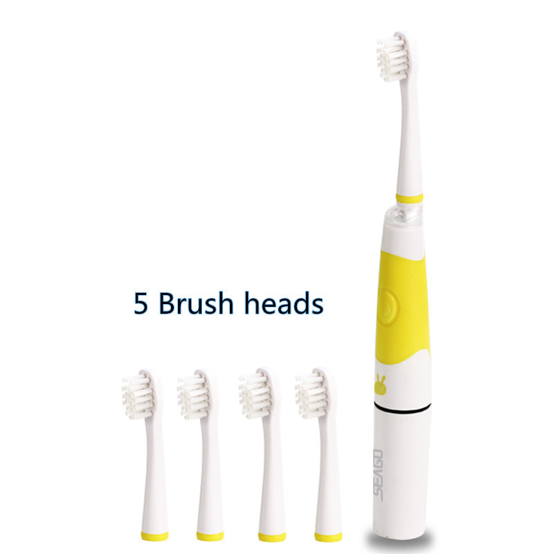 Seago Sonic toothbrush Electric teeth brush 5 Brush heads Children kids Soft Bristle LED lamp Child Oral care SG-618 image