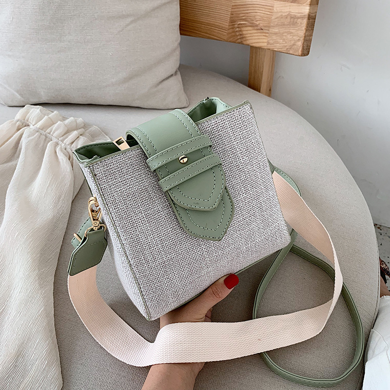New Quality  Pattern Leather Young Girl Bag Girls Bag 2019 New  Color Bucket Bag Fashion Joker Shoulder Messenger Bag