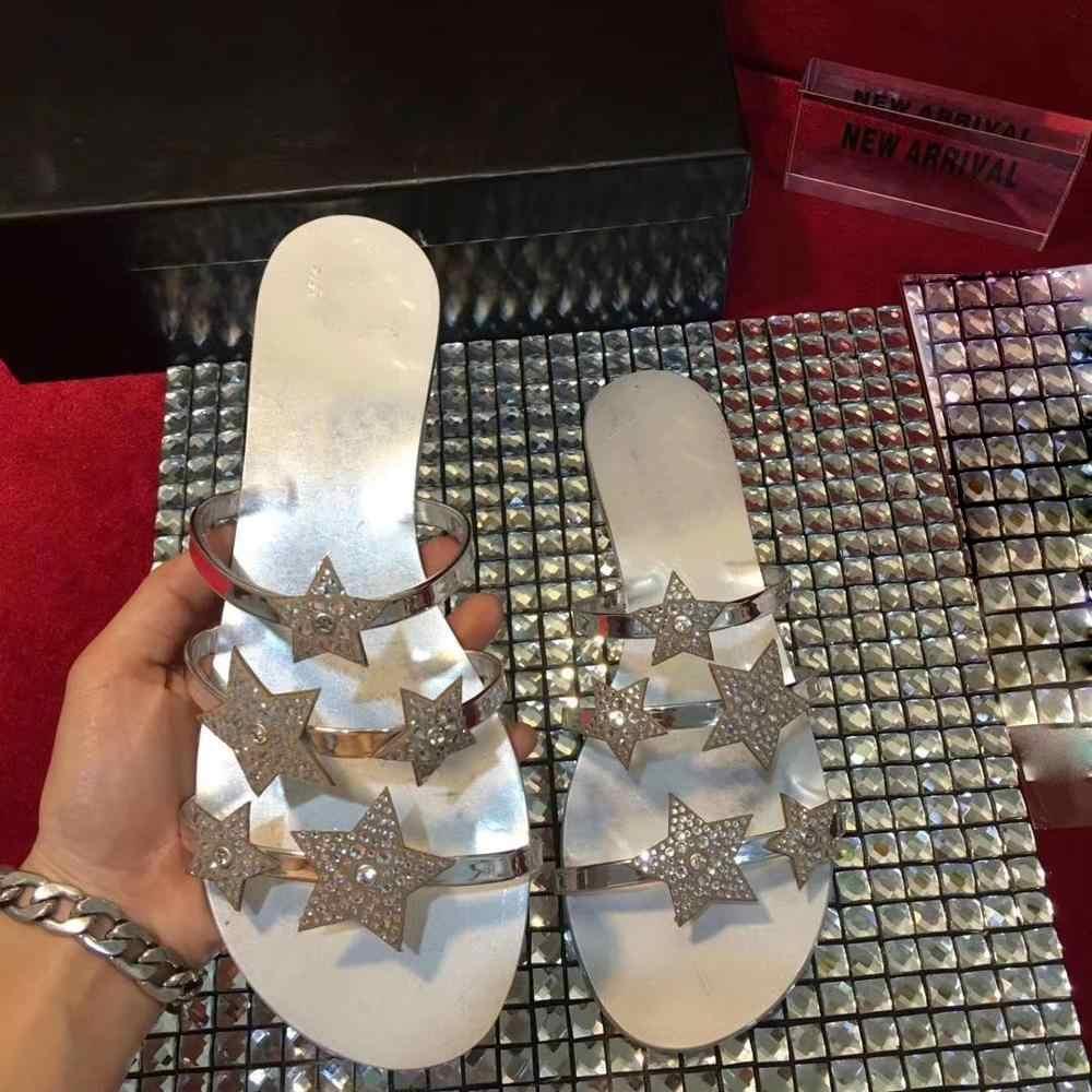 יוקרה עיצוב כפכפים נשים קריסטל כוכבים דקור קיץ נעלי אישה דירות להחליק על מקרית שקופיות 3 צבעים פתוח הבוהן Zapatos mujer