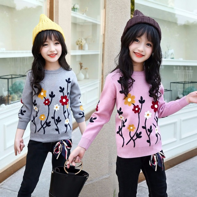 0d3a0be634 embroidery floral knit sweaters baby big girl cotton sweater winter 2018  kids spring knit clothing children autumn pullover