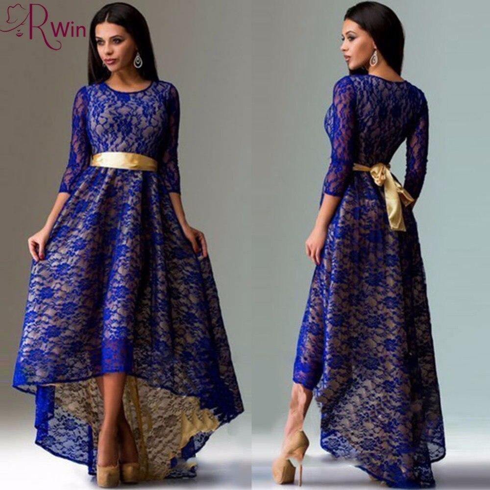 Mrswin Hot High Quality Women Dresses Autumn O-neck Slim Sexy Asymmetry Swallowtail long Lace Party Dress Vestidos Plus size 3XL