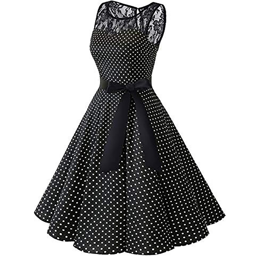 HTB1eD6PXznuK1RkSmFPq6AuzFXaw Sleeper #401 2018 Women Sleeveless Polka Dot Lace Hepburn Vintage Swing High-Waist Pleated Dress solid design hot Drop Shipping