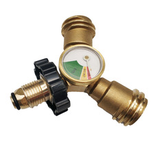 Earth Star brass 20-50Lbs propane cylinder POL type connection Y-splitter adapter with gauge meters for BBQ grill