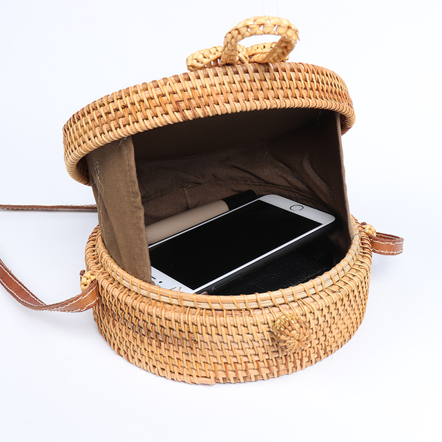 Round Handwoven Rattan Bag
