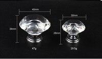 10Pcs 40mm Diamond Crystal Glass Alloy Door Drawer Cabinet Wardrobe Pull Handle Knobs