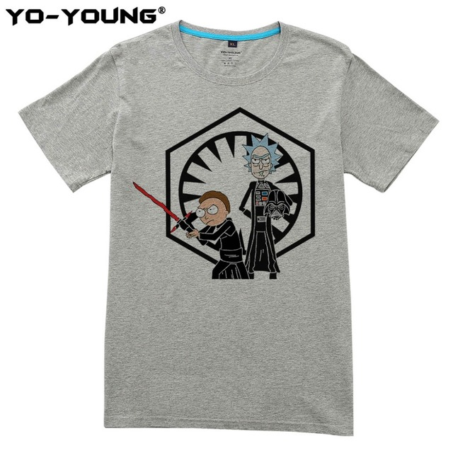 Rick And Morty Men T-shirts Star Wars Funny Design Digital Printing 100% 180 gsm Combed Cotton Casual Top Tees Homme Customized
