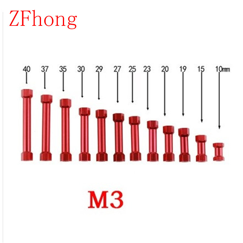 20PCS M3*10/15/19/20/21/23/25/27/29/30/32/35/37/40 Red Anodized Aluminum hex pillar step standoff Spacer 20pcs m3 6 m3 x 6mm aluminum anodized hex socket button head screw