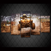 5 Pcs/Set Framed HD Printed Wild Motorcycle Rally Wall Art Picture Canvas Print Decor Poster Modern Canvas Oil Painting