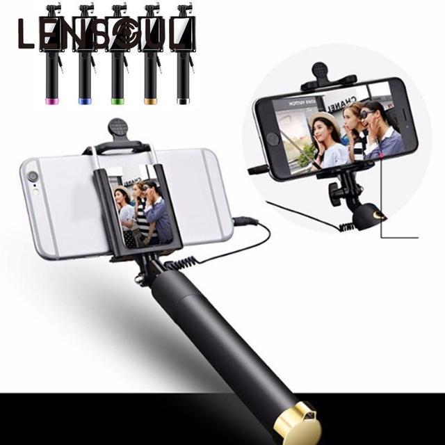 Lensoul伸縮ハンドヘルドスケーラブル有線selfieスティック一脚でバックミラーライン電話カメラホルダー